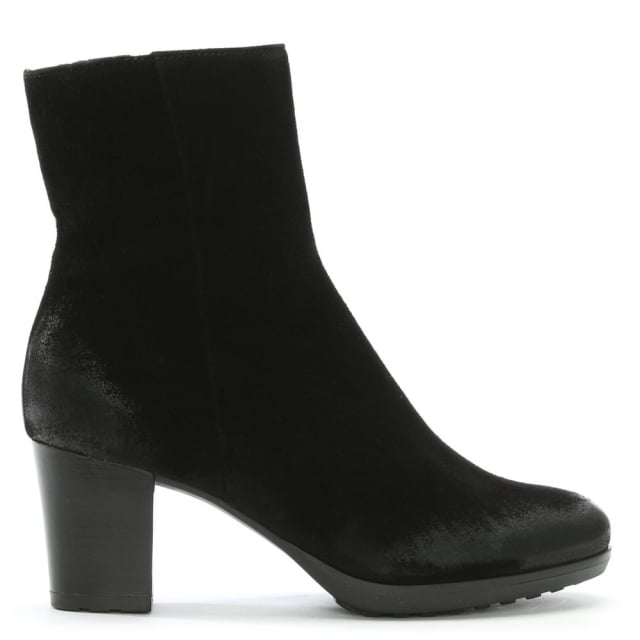 Manas Black Suede Distressed Ankle Boots