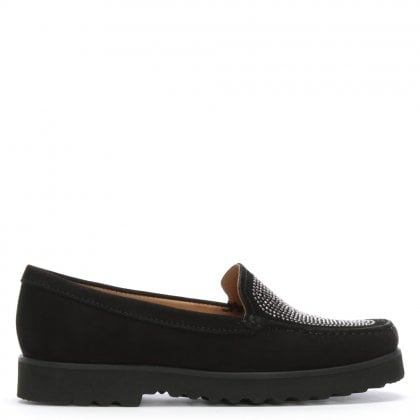 Black Suede Embellished Loafers
