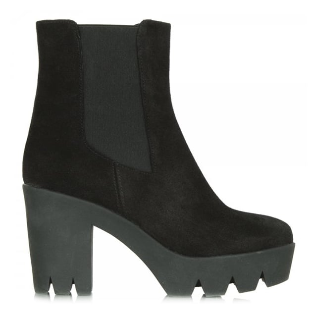 Black Suede Fabina Women's Platform Ankle Boot