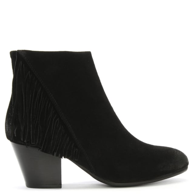 Manas Black Suede Fringed Ankle Boots