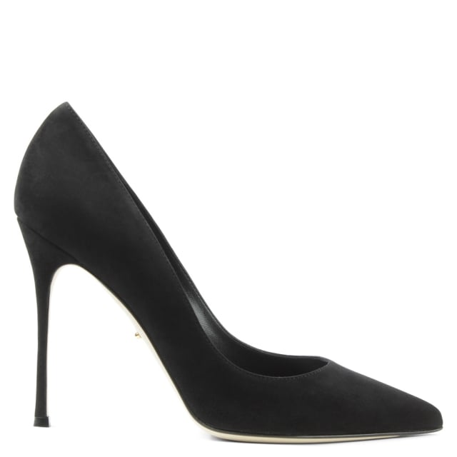 Black Suede Godiva 105 Pointed Toe Court Shoe