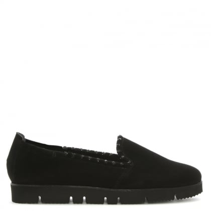 Black Suede Jewelled Slip On Pumps