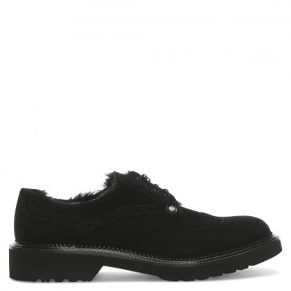 Black Suede Lace Up Brogue