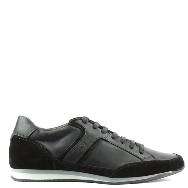 Black Suede & Leather Lace Up Trainer