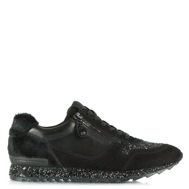 Black Suede & Leather Waterside Glitter Lace Up Trainer