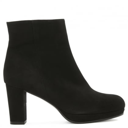 Black Suede Low Platform Ankle Boot