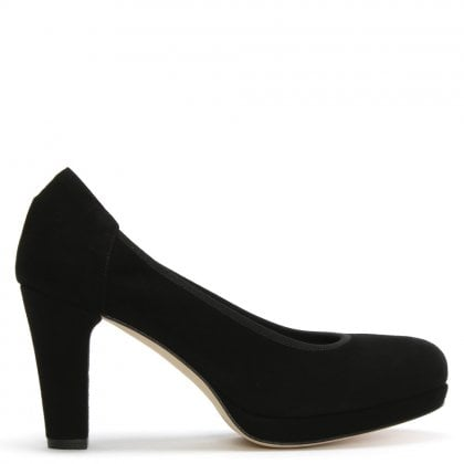 Black Suede Low Platform Court Shoe