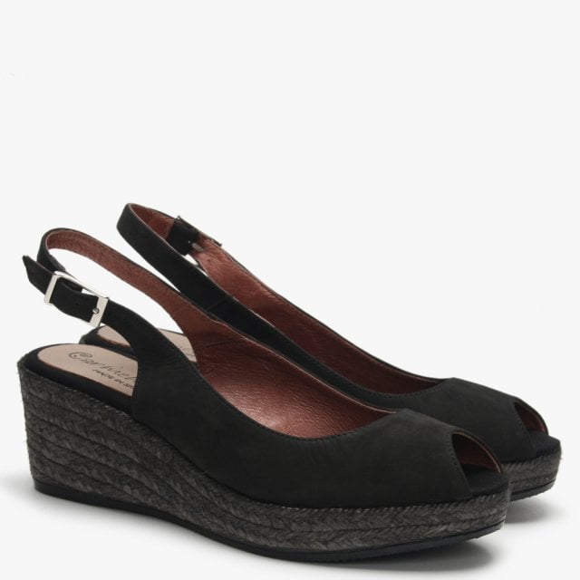0b96619e969 Black Suede Low Wedge Espadrille Sandals