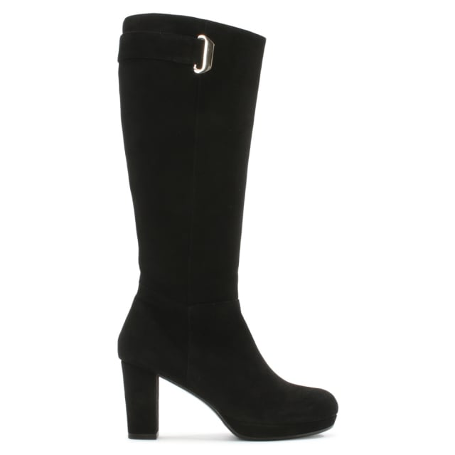 Calpierre Black Suede Metal Trim Platform Knee Boot