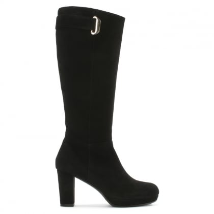 Black Suede Metal Trim Platform Knee Boot