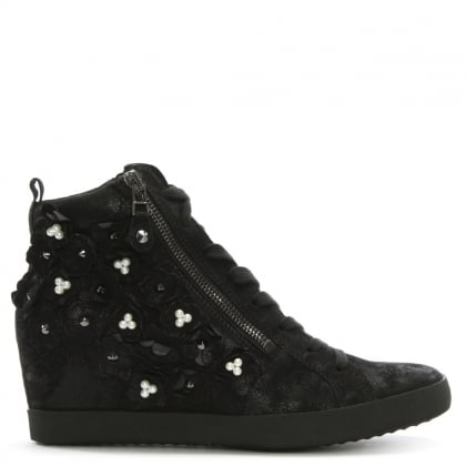 Black Suede Pearl Embellished High Trainers