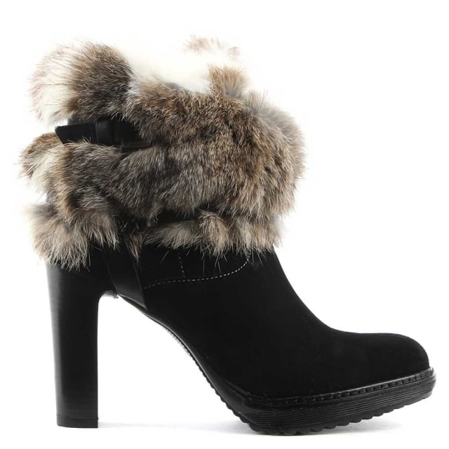 Black Suede Platform Fur Cuff Ankle Boot