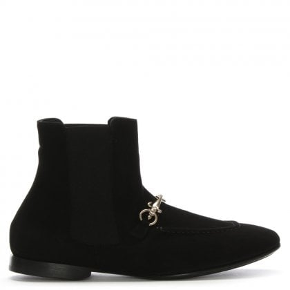 Black Suede Pull On Chelsea Boots