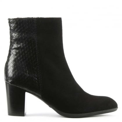 Black Suede Reptile Back Ankle Boot