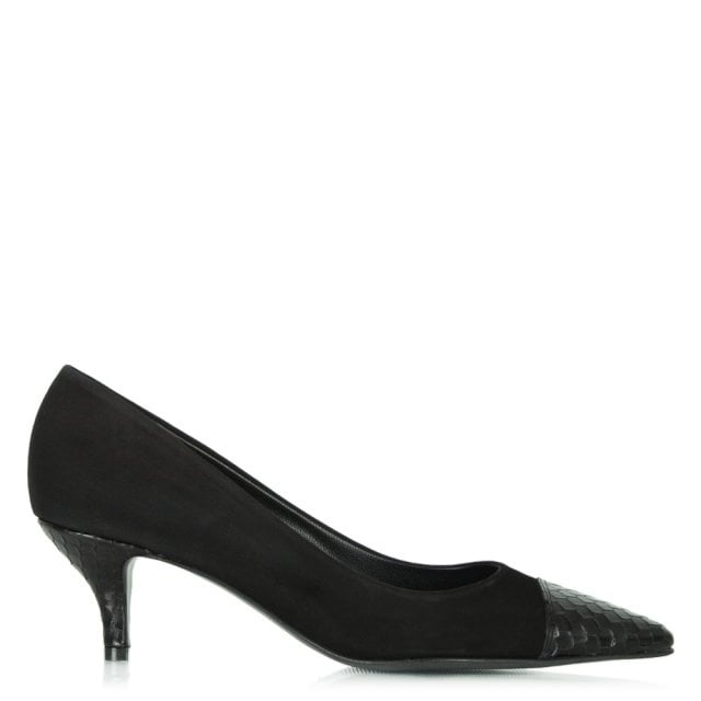 Black Suede Reptile Dwelf Court Shoe