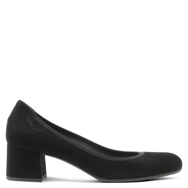 Black Suede Round Toe Court Shoe