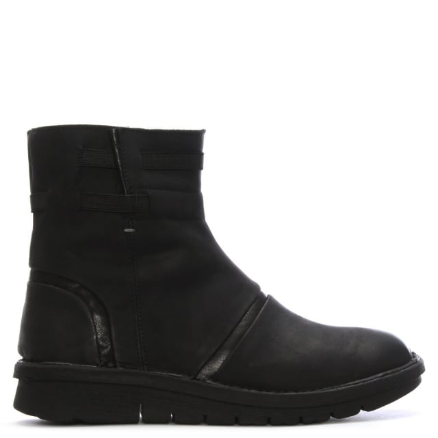 Black Suede Rugged Ankle Boots