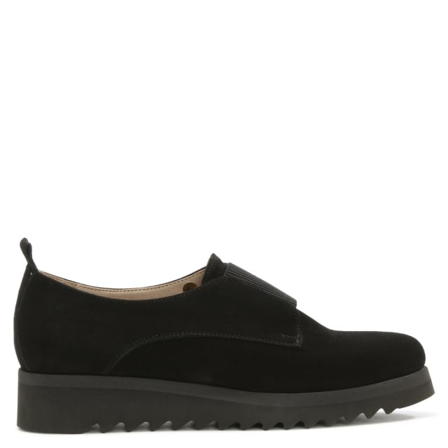 Black Suede Slip On Pointed Toe Shoe