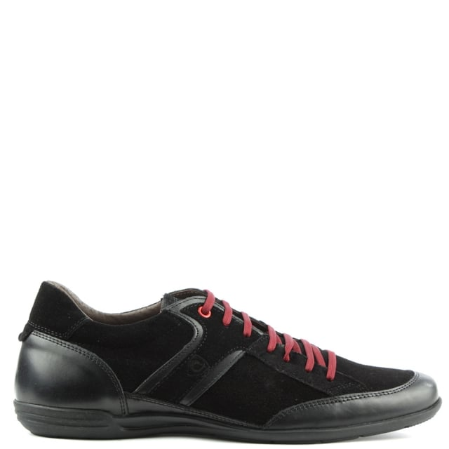 Black Suede Sporty Lace Up Shoe