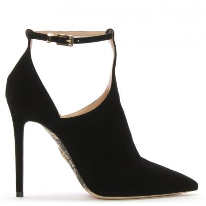 Black Suede T Bar Heeled Shoes