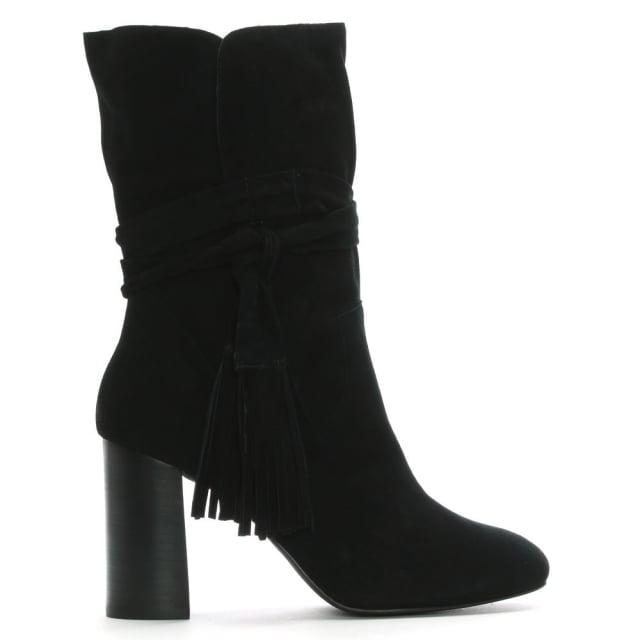 Shellys London Black Suede Tassel Ankle Boots