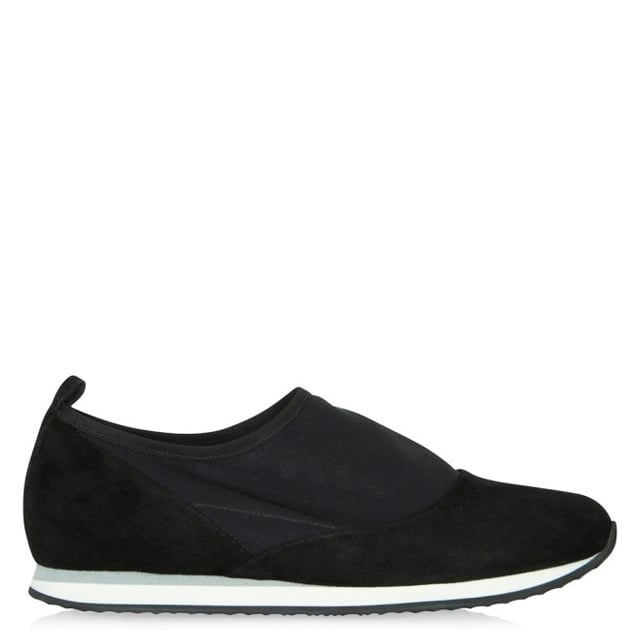 Black Suede Train Ball Slip On Trainer