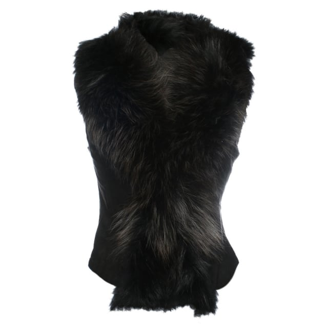 Black Suedette Fox Fur Gilet