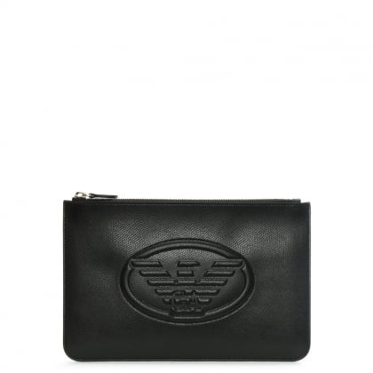 Black Textured Logo Envelope Pouch