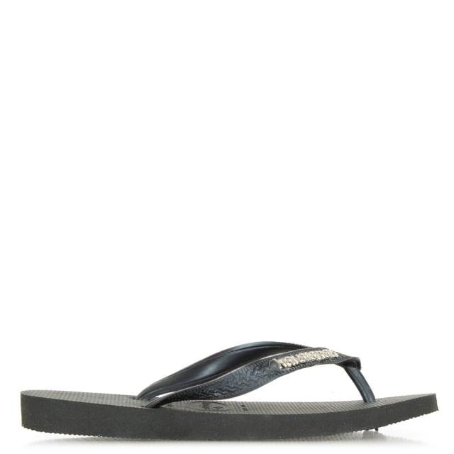 9b00d8c935b5 Havaianas Black Top Metallic Logo Flip Flop Sandals