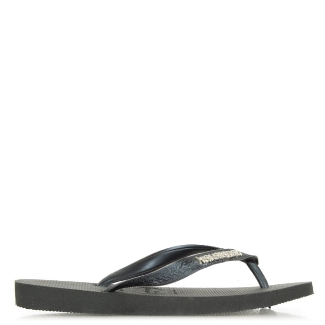 Black Top Metallic Logo Flip Flop Sandals