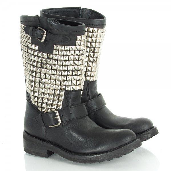 db0b3b4be0f5 Ash Black Trash Women s Studded Biker Boot