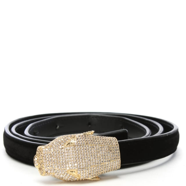 Cavalli Class Black Velvet Diamante Panther Belt