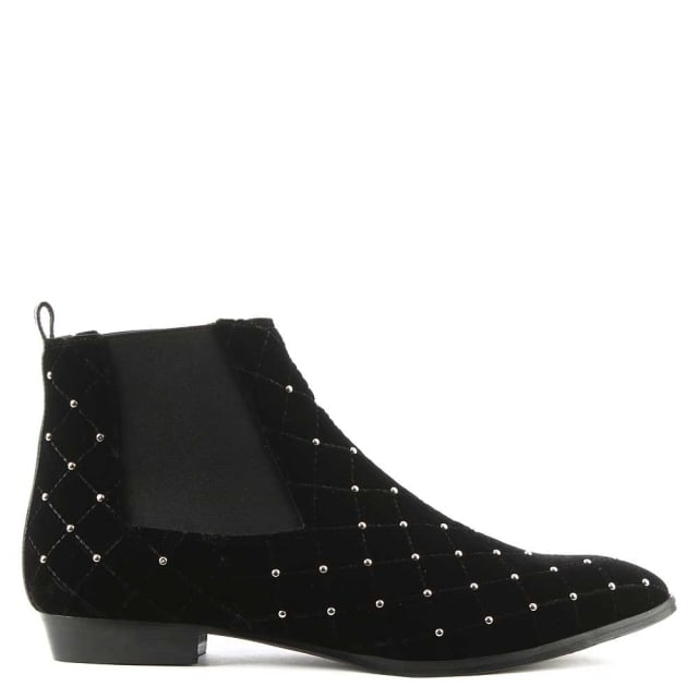 Black Velvet Studded Embellished Chelsea Boot
