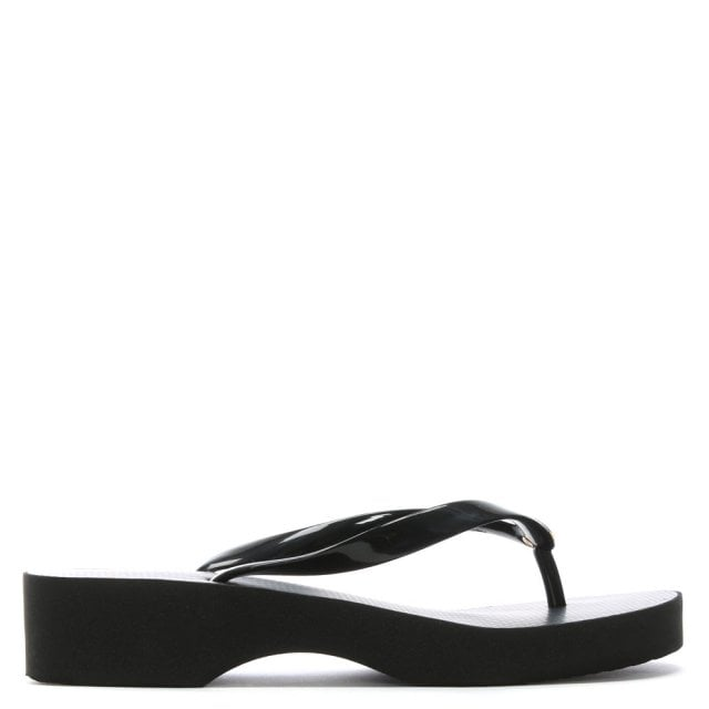 fa7476ed6331 Tory Burch Black Wedge Toe Post Flip Flops