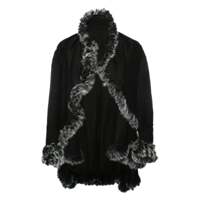 JayLey Black Wool Fur Trim Cape