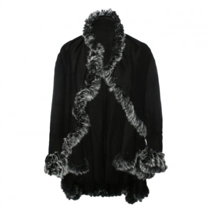 Black Wool Fur Trim Cape