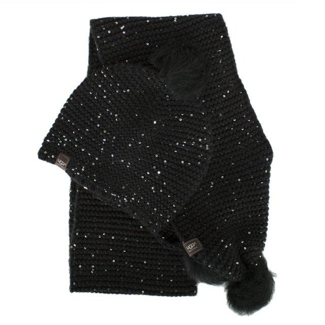 8f091bbdbd8 UGG Australia Black Wool Sequin Hat   Scarf Set