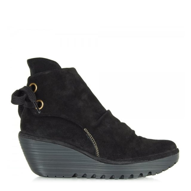 Black Yama Womens Low Wedge Ankle Boot