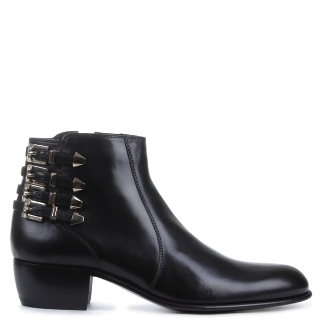 Block Heel Black Leather Strapped Ankle Boot
