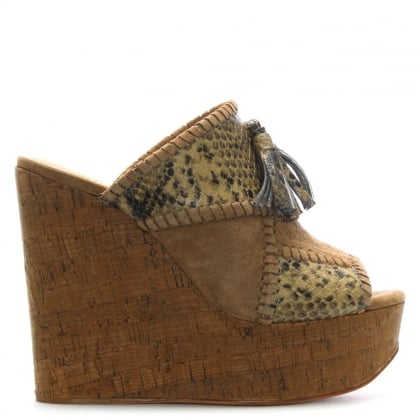 Blondie Beige Tassel High Fronted Mule