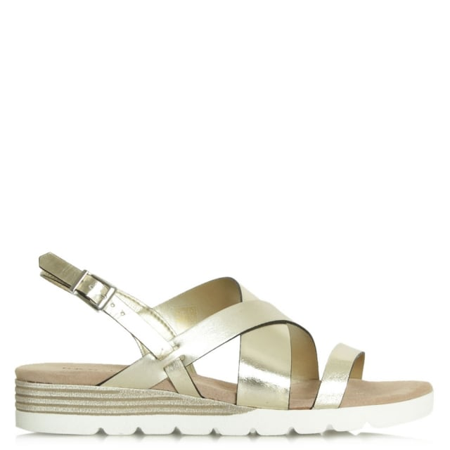 Bloomfield Gold Leather Contrast Low Wedge Sandal
