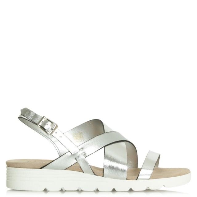 Daniel Bloomfield Silver Leather Contrast Low Wedge Sandal
