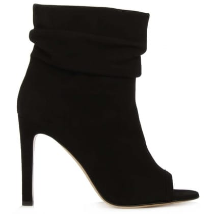 Bloomington Black Suede Rouched Peep Toe Ankle Boot