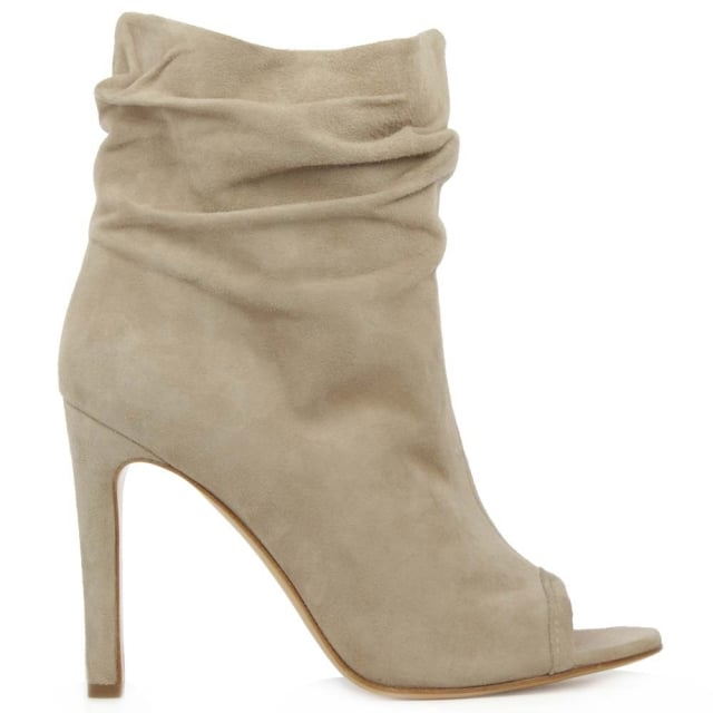 Bloomington Taupe Suede Rouched Peep Toe Ankle Boot
