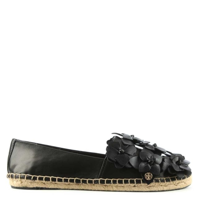 Blossom Black Leather Espadrille