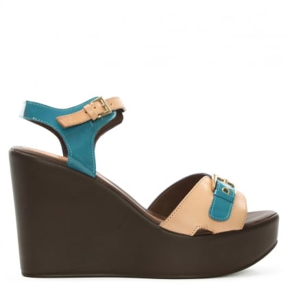 Blue Colour Block Wedge Sandal