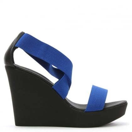 Blue Elasticated Strap High Wedge Sandal