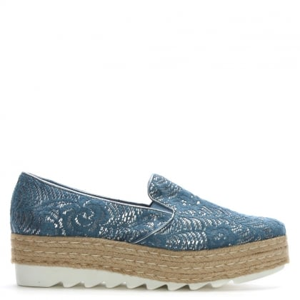 Blue Lace Coated Covered Espadrille Loafers