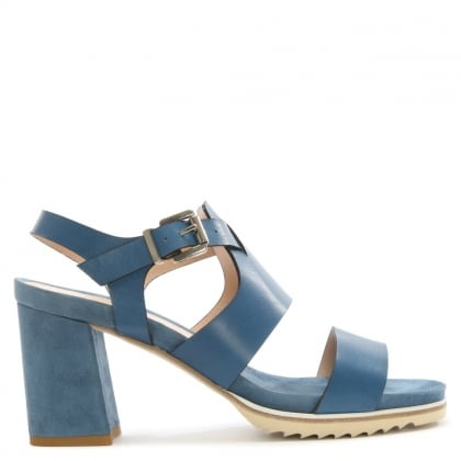 Blue Leather Block Heel Sandal
