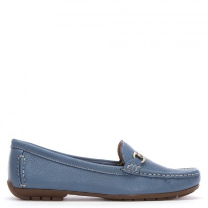 Blue Leather Buckle Loafers